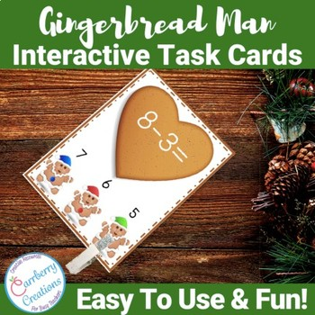 Gingerbread Man Subtraction Interactive Task Cards Center