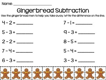 Gingerbread Subtraction to 10