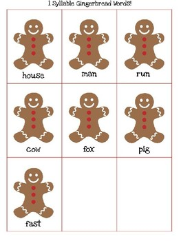 Gingerbread Syllable Sort