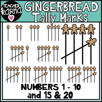 Gingerbread Tally Marks Clipart for Counting and Math