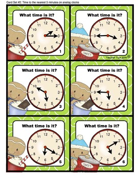 Gingerbread Man Telling Time Task Cards