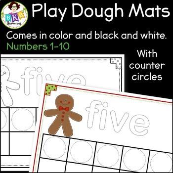 Gingerbread Play Dough Mats ● Christmas Ten Frames ● Math Centers