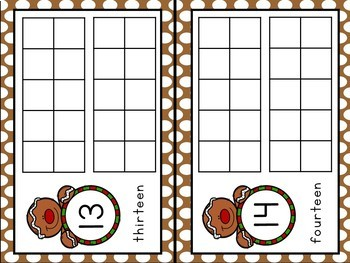 Gingerbread Theme Ten Frame - Numbers 1 - 20 - Half Page