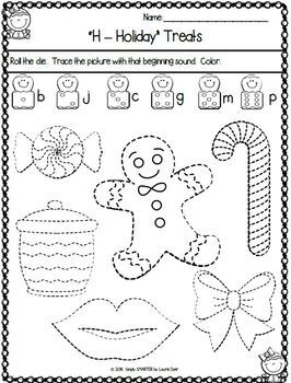 Gingerbread Themed Kindergarten Math and Literacy Worksheets and Activities