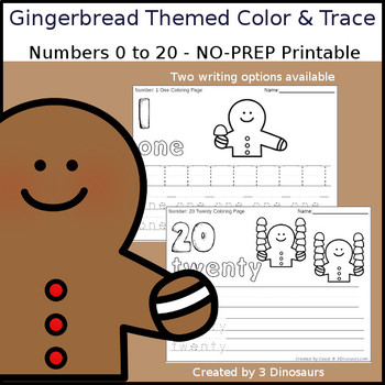 Gingerbread Themed Number Color and Trace