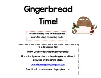 Gingerbread Time! ~reading an analog clock to the nearest 5minutes