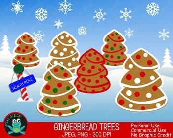 Gingerbread Trees {Upzaz Digital Clipart}