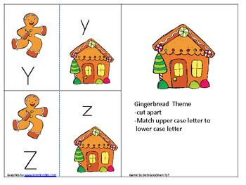Gingerbread Upper and Lower Case letter match game