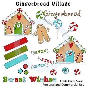 Gingerbread Village Color Clip Art C. Seslar