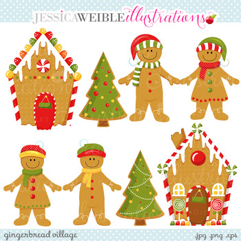 Gingerbread Village - Cute Digital Clipart, Christmas Graphics