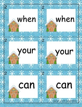 Gingerbread  Word Match Fry words 1-400