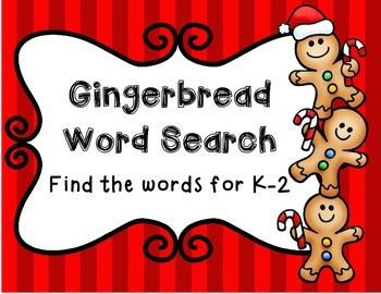 Gingerbread Word Search--Find the Words for K-2