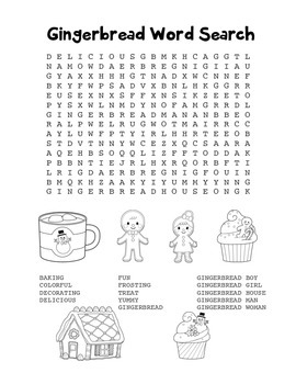 """Gingerbread"" Word Search – Holiday Fun! (Black Line Version)"