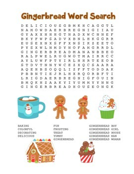"""""""Gingerbread"""" Word Search – Holiday Fun! (Full Color Version)"""