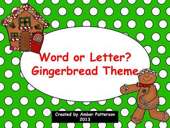 Word or Letter Sort:  Gingerbread Theme
