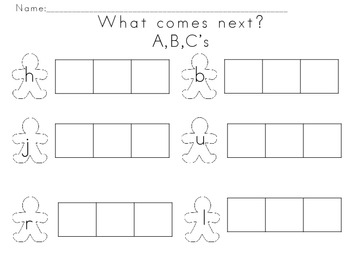 Gingerbread Worsheets--What Comes Next A,B,C's and 1,2,3's