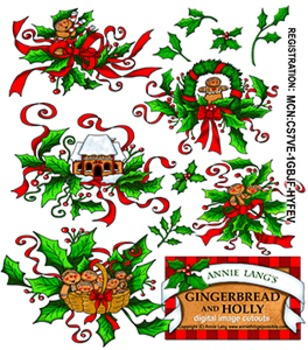 Gingerbread and Holly Clipart
