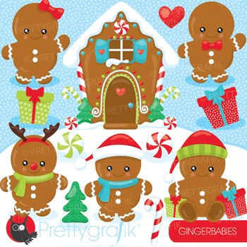 Gingerbread babies clipart commercial use, vector graphics, digital - CL930