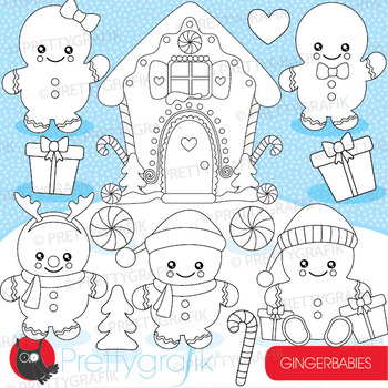 Gingerbread baby stamps commercial use, vector graphics, images  - DS930