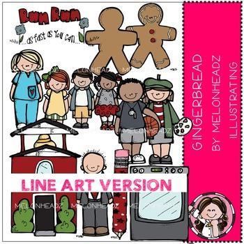 Melonheadz: Gingerbread clip art - LINE ART