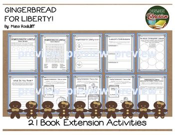 Gingerbread for Liberty by Rockliff 21 Book Extension Activities NO PREP