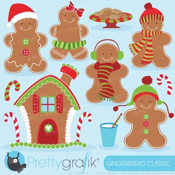 Gingerbread man clipart commercial use, vector graphics - CL596