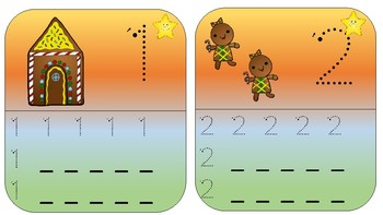 Gingerbread man counting cards / Write and wipe