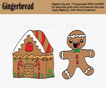 Gingerbread man nad ginger house clipart - Line art included