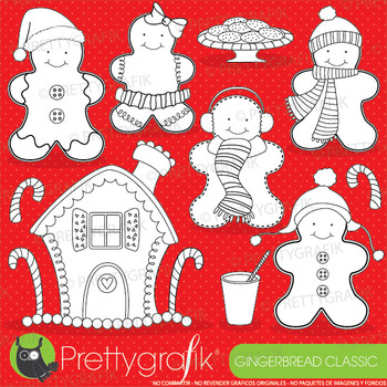 Gingerbread man vector, commercial use black lines clipart - DS596