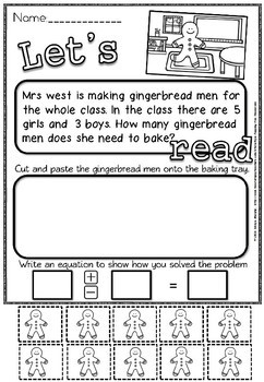 Gingerbread men Word Problems.(50% off for 48 hours)