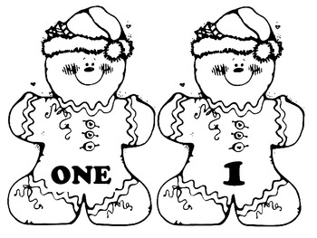 Gingerbread men matching numbers
