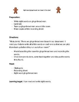 Gingerbread sight word search