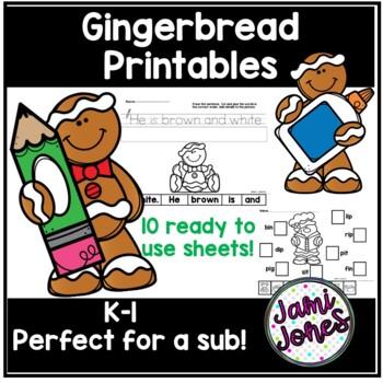 Gingerbread themed kindergarten printables