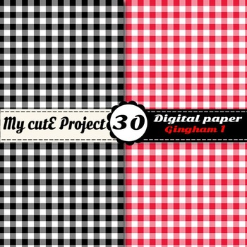 Gingham 1 - DIGITAL PAPER - Instant Download - Scrapbooking - A4 & 12x12""