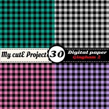 "Gingham 2 - DIGITAL PAPER - Instant Download - Scrapbooking - A4 & 12x12"""
