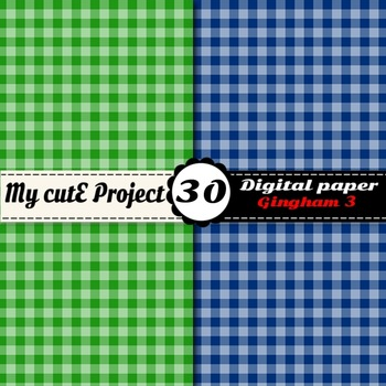 Gingham 3 - DIGITAL PAPER - Instant Download - Scrapbooking - A4 & 12x12""