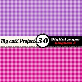 "Gingham 3 - DIGITAL PAPER - Instant Download - Scrapbooking - A4 & 12x12"""