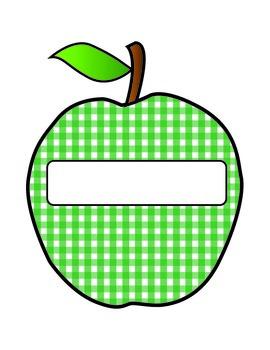 Gingham Apple Nametags