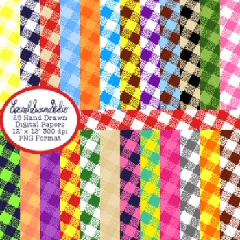 Gingham Background Paper Bundle Digital Cover Page PNG Commercial Personal
