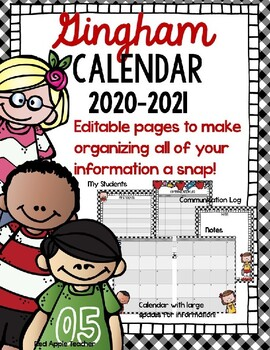 Gingham Calendar/Planner 2018-2019--Editable Pages