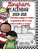 Gingham Calendar/Planner 2019-2020--Editable Pages