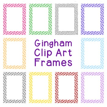 Gingham Check Frames Clip Art PNG JPG Blackline Included Commercial or Personal