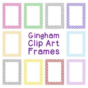 Gingham Check Frames Clip Art PNG JPG Blackline Included C