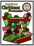 Gingham Christmas Presents Clipart