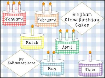 Gingham Class Birthday Cakes