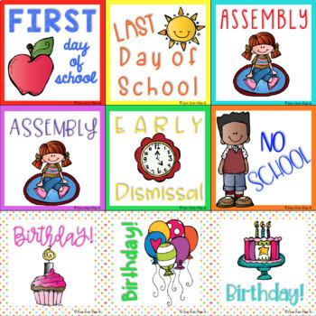 Gingham Classroom Calendar Set