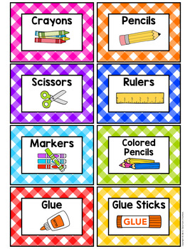 Gingham Classroom Supply Labels-Classroom Decor
