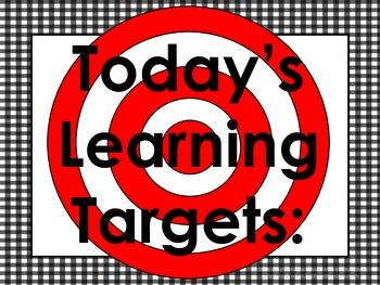 Gingham Daily Learning Targets Bulletin Board Set