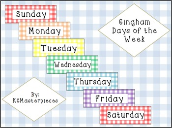 Gingham Days of the Week Calendar Accessory