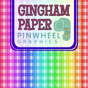 Gingham Digital Paper Background-Rainbow Picnic